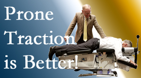 Richmond spinal traction applied lying face down – prone – is best according to the latest research. Visit Johnson Chiropractic.