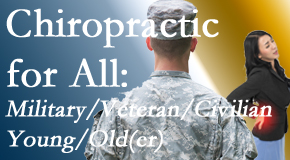 Johnson Chiropractic delivers back pain relief to civilian and military/veteran sufferers and young and old sufferers alike!