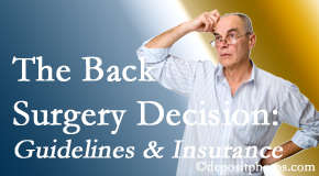 Johnson Chiropractic realizes that back pain sufferers may choose their back pain treatment option based on insurance coverage. If insurance pays for back surgery, will you choose that?
