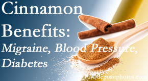 Johnson Chiropractic shares research on the benefits of cinnamon for migraine, diabetes and blood pressure.