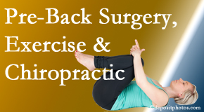 Johnson Chiropractic offers beneficial pre-back surgery chiropractic care and exercise to physically prepare for and possibly avoid back surgery.