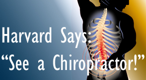 Richmond chiropractic for back pain relief urged by Harvard
