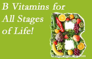 Johnson Chiropractic suggests a check of your B vitamin status for overall health throughout life.