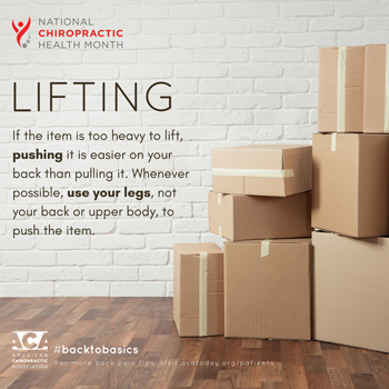 Johnson Chiropractic advises lifting with your legs.