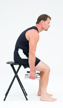 slouching in chair with weight
